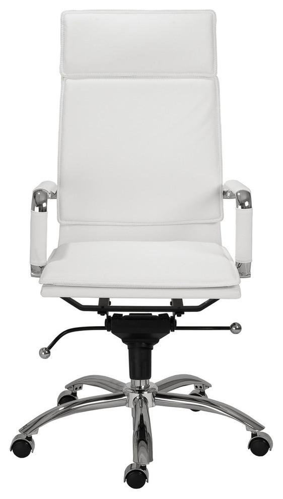 Gunar High Back White Leather and Chrome Modern Office Chair