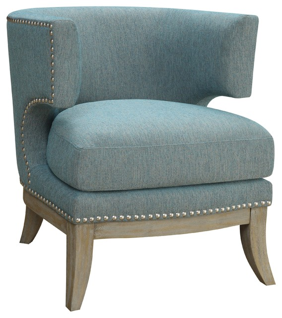 Good Upholstered Accent Chair Barrel High Curved Back Nailhead Trim Fabric,  Black Transitional Armchairs