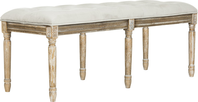 Rocha Tufted Traditional Bench, Gray. -1
