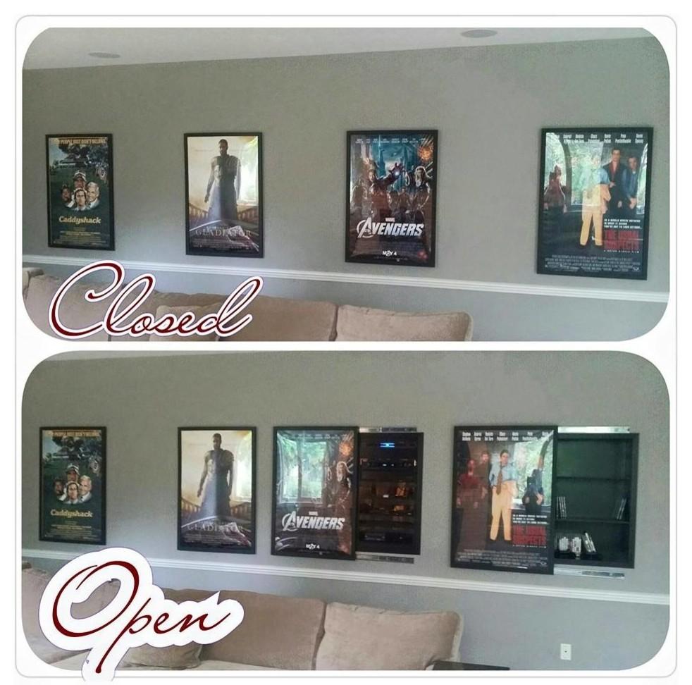 Carmel, IN - Hidden Equipment Rack behind Movie Posters