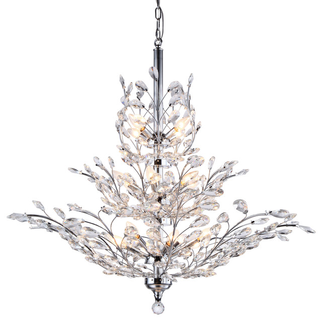 13 Light Crystal Chandelier Light, Chrome Finish With European Crystals