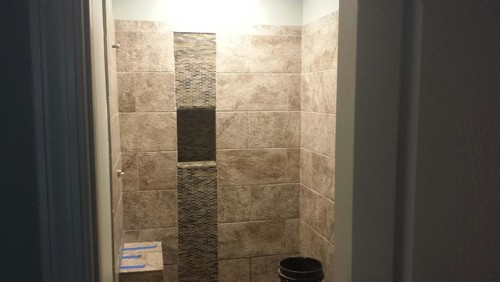 Decorative Vertical Tile In Shower Installed Incorrectly