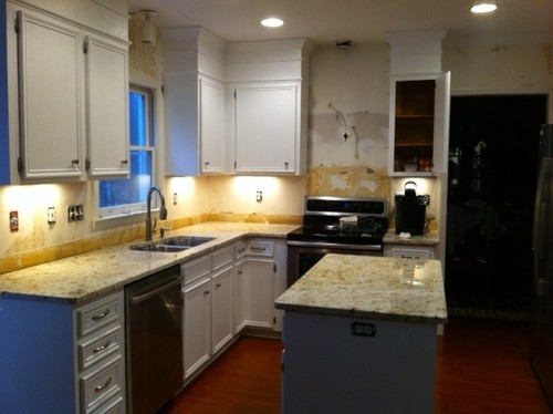 ... Stove To Minimize The Look Of A Smaller Hood? Any Ideas Or Solutions  Would Be Great. The Granite Is Colonial Gold, If That Helps With Tile  Suggestions.