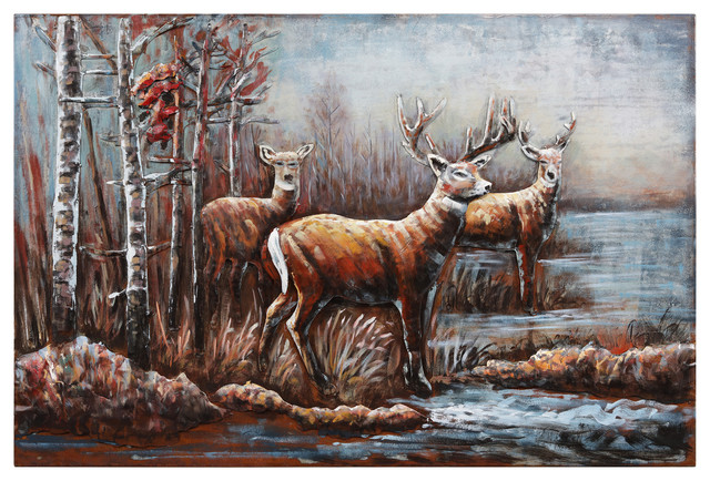 """""""Deer"""" Mixed Media Iron Hand Painted Dimensional Wall Art"""