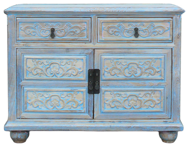 Oriental Floral Shabby Chic Rustic Light Blue High Credenza Cabinet Hcs1158  Asian Accent Chests