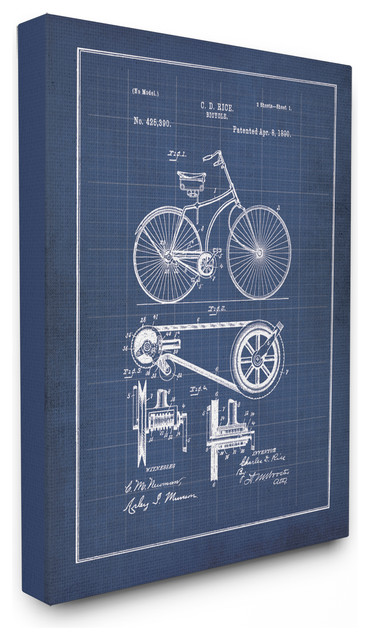 Vintage bike blueprint canvas wall art 16x20 3lbs industrial vintage bike blueprint oversized stretched canvas wall art malvernweather Image collections