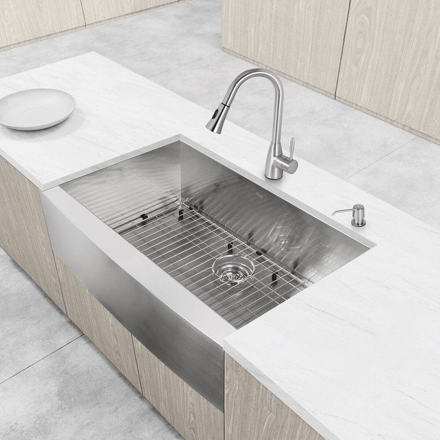 vigo all one 36 farmhouse stainless steel kitchen sink and faucet set modern. beautiful ideas. Home Design Ideas