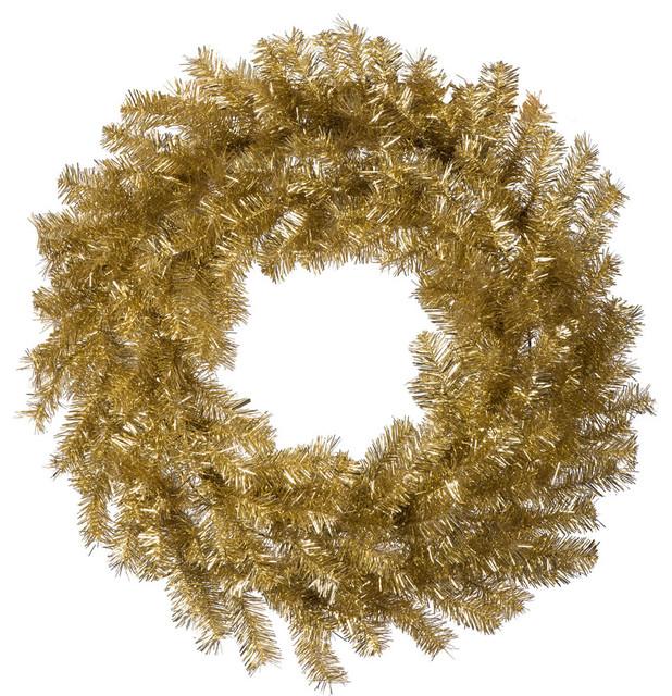 Vickerman 48 Gold Silver Tinsel Artificial Christmas Wreath Unlit