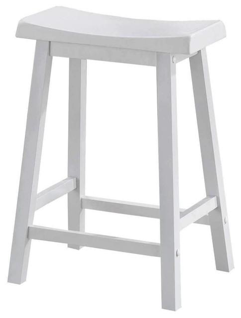 Barstool 2 Pieces 24 H White Saddle Seat