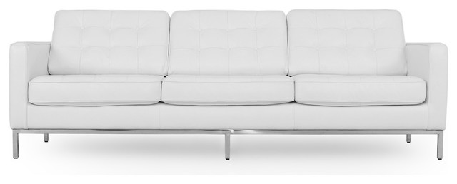 "Florence 89"" Leather Sofa, Top Grain Aniline, White"