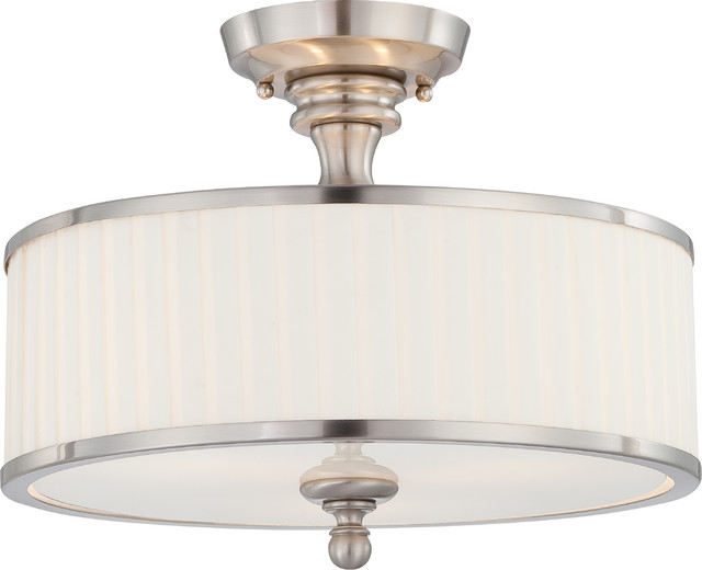 Nuvo 3-Light Candice Close-To-Ceiling Light Fixture, Brushed Nickel.