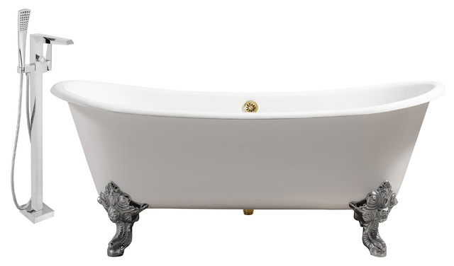 "Streamline 72"" Faucet And Cast Iron Tub Set, Gold Popup Drain, Showerhead H-100."