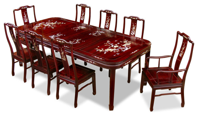 96 rosewood mother of pearl motif dining table with 8 chairs rh houzz com chinese chippendale dining room furniture china cabinets dining room furniture