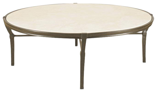 Jane Modern French Round Stone Top Metal Outdoor Coffee Table