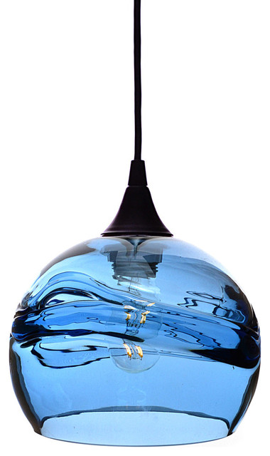 Swell Pendant Form No 767 Blue Glass Shade Black Hardware 4w Led