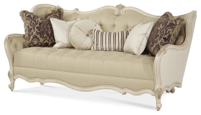 Aico Lavelle Wood Trim Tufted Sofa Blanc Victorian Sofas