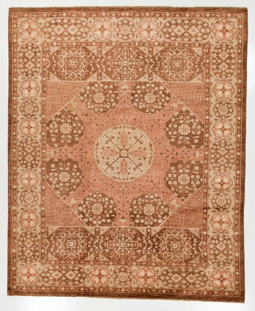 Pink And Brown Hand Made Chobi Ziegler Oriental Rug With Border 8x9 6 Traditional
