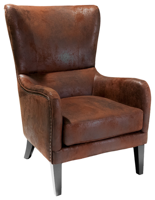 Clarkson Wingback Armchair Rustic Armchairs And Accent Chairs By Gdfstudio
