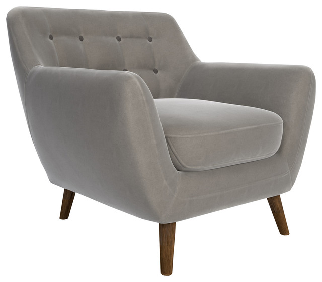 Deryn Armchair, Light Gray Velvet. -1