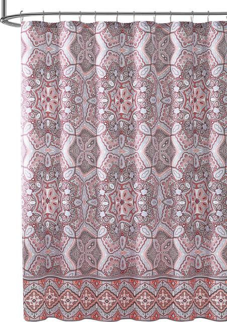Orange Coral Rust Red Fabric Shower Curtain Floral Gems Mandala Print
