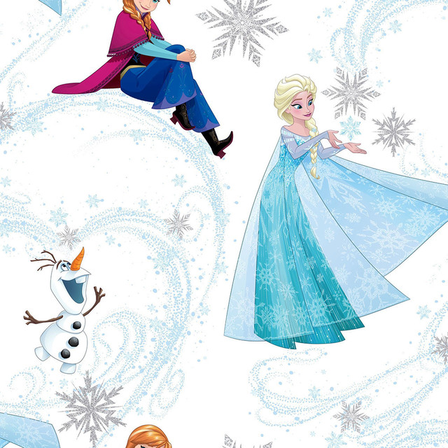 Disney Frozen Anna And Elsa Blue And White Wallpaper Contemporary
