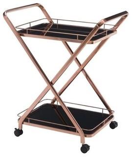 Brika Home Glass Kitchen Cart, Rose Gold