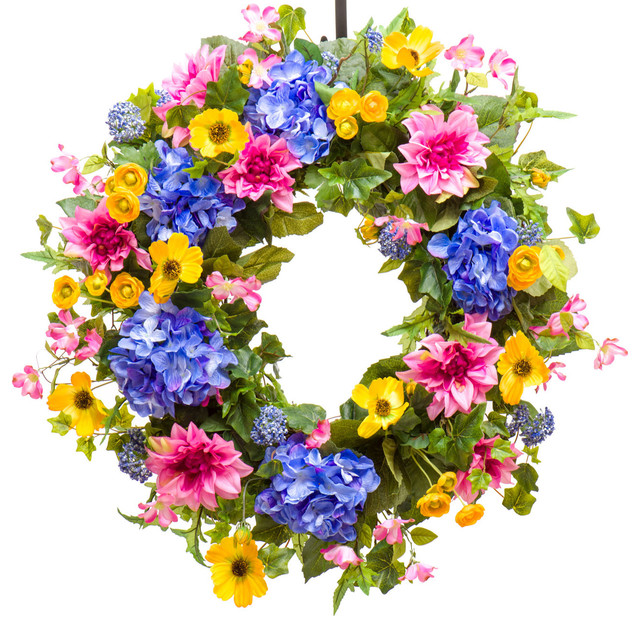Summer Hydrangea, Dahlia & Cosmos Wreath, Sw154, 26.
