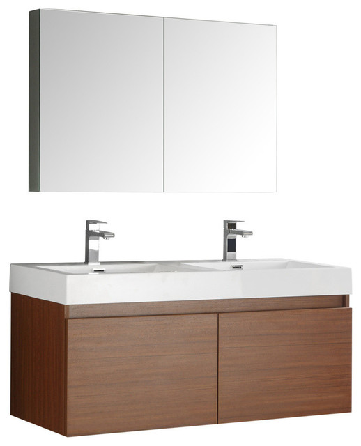 "Fresca Mezzo 48"" Teak Wall Hung Double Sink Modern Bathroom Vanity."