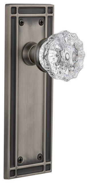 Privacy Nostalgic Warehouse Classic Rosette with Mission Door Knob Antique Pewter 2.75