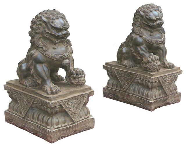 Pair Chinese Hand Carving Dark Green Marble Fenshui Foo Dogs