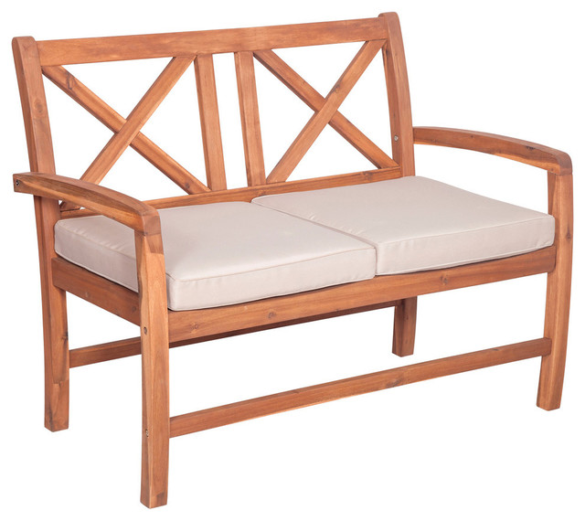 Acacia X-Back Love Seat With Cushions, Brown.