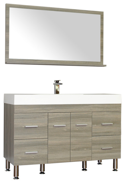 The Modern 47 Inch Single Modern Bathroom Vanity In Gray Without
