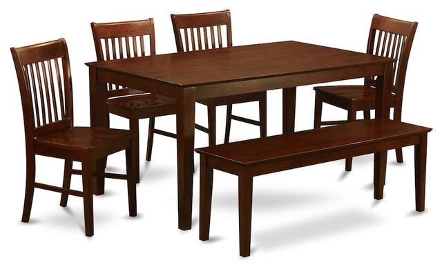 6 PC Dining Set With Bench Dinette Table And 4 Kitchen Dining Chairs And  Bench