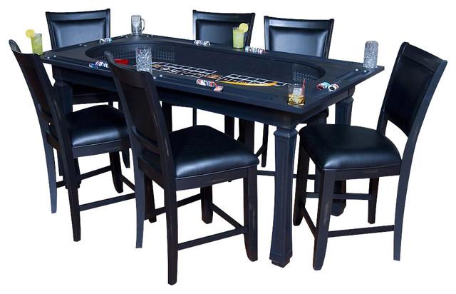 Burlington 7 Piece Convertible Game Table U0026 Chairs Set In Peppercorn