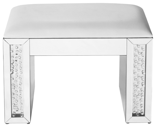 Wondrous 26 Crystal Vanity Leather Stool Clear Mirror Finish Cjindustries Chair Design For Home Cjindustriesco