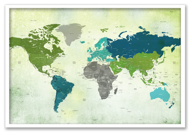 Textured ink framed world map 24x36 view in your room houzz framed world map 24x36 contemporary prints and posters gumiabroncs Gallery