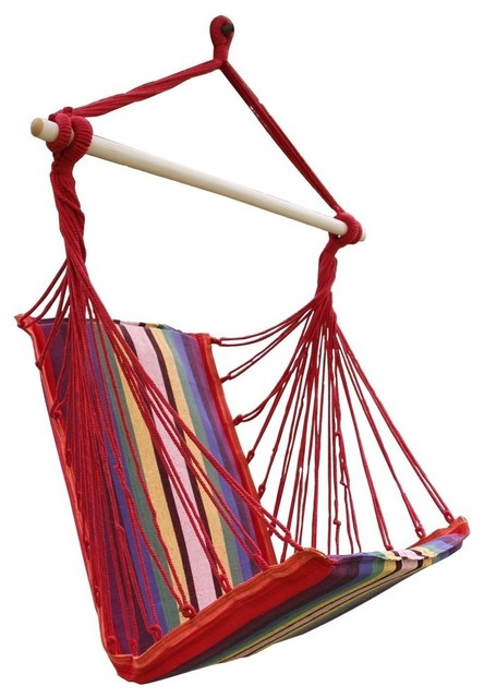 Cotton fabric hanging chair high back deluxe style for Fabric hammock chair