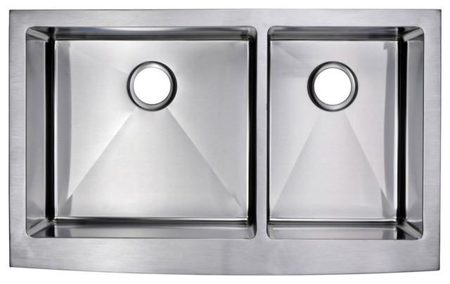 36   x 22   15mm radius 60 40 double bowl stainless steel apron front 36   x 22   60 40 double basin stainless steel kitchen sink   modern      rh   houzz com