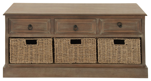 Rustic Country Wood 3-Baskets Chest, Brown