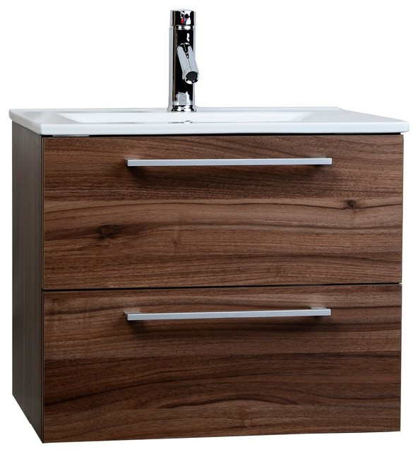 Cbi Caen 24 Wall Mounted Single Bathroom Vanity Set Walnut