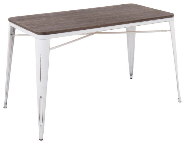 Oregon Industrial-Farmhouse Utility Table in Vintage White & Espresso