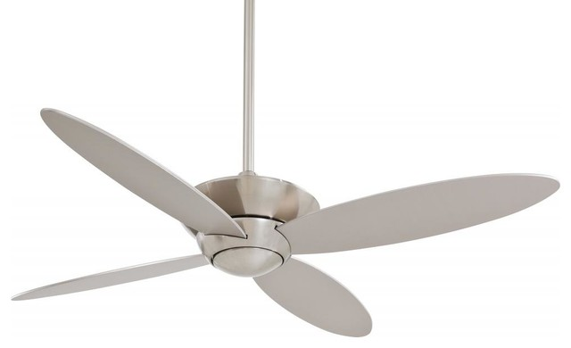 """Brushed Nickel 52"""" Ceiling Fan From The Zen Collection, Brushed Nickel, Gu24."""