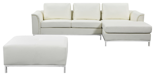 Ollon Leather, Sectional Sofa, White, Right Facing.