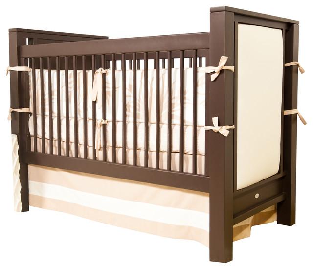 Ricki Crib with Upholstered Panels Contemporary Cribs Orange