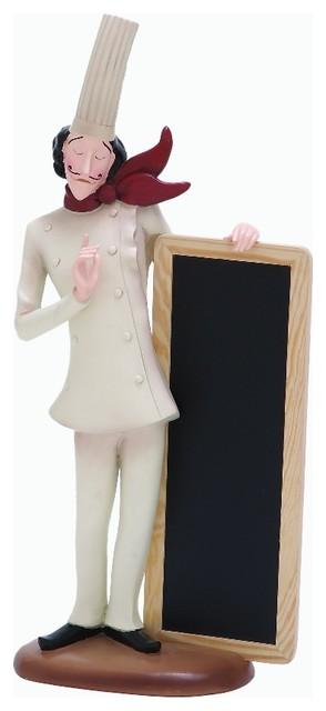Chef Statue Figurine Chalkboard Kitchen Bar Accent Decor 69357