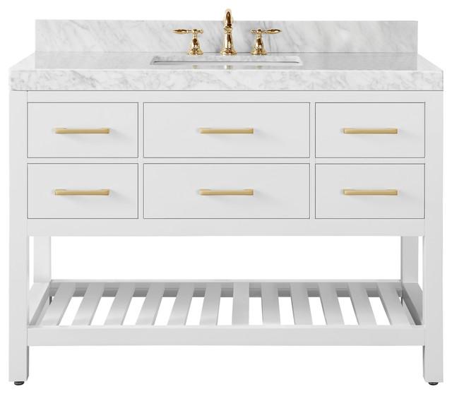 "Elizabeth Bath Vanity Set, White, 48"", Gold Hardware, Carrara White Marble"