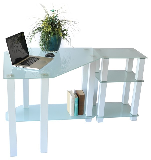 right white tempered glass corner computer desk modern desks and hutches by rta home and. Black Bedroom Furniture Sets. Home Design Ideas