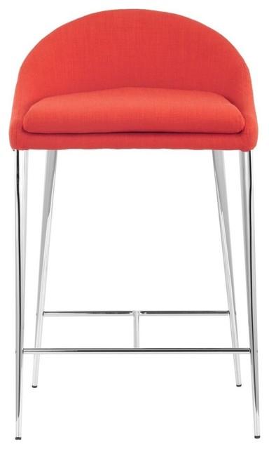 Zuo Reykjavik Modern Counter Chair, Tangerine
