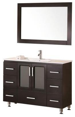 Stanton 48 Single Sink Vanity Set, Espresso, Drop-In Sink.