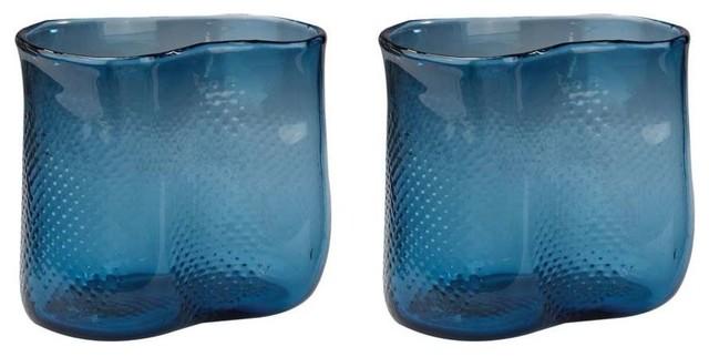 Dimond Home 154 012s2 Navy Fish Net Glass Vase Set Of 2